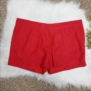 CYNTHiA ROWLEY Red lace trouser shorts